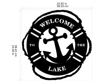 Welcome To The Lake Life Preserver Ring With Anchor Nautical Decor