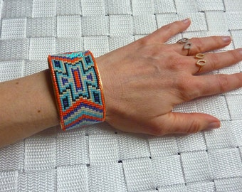 Brass Cuff Bracelet with woven beads