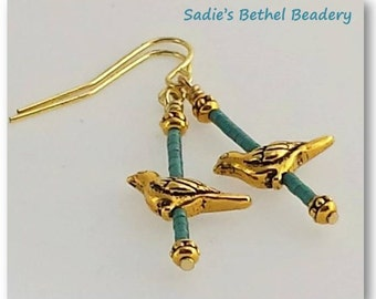 Paloma Birds with Teal Beads Earrings