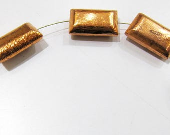 Rectangle Shape Metal Beads , Copper Plated Cushion Shape Beads , Handmade Spacer Beads Size 10x20mm , Sold per Piece in Wholesale Price.