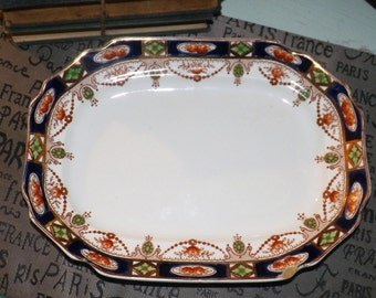 Antique (c.1910s) Thomas Hughes & Son | T. Hughes Imperial Derby oval serving platter. Cobalt/gold Imari pattern.