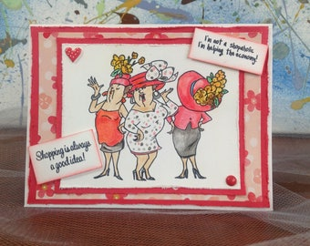 Handmade Friendship card, Bff card, shopoholic, shopping therapy