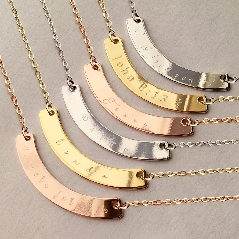 personalized necklaces gold curved bar necklace necklace. Black Bedroom Furniture Sets. Home Design Ideas