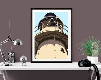 Seaside print of Lighthouse, perfect for coastal theme room, Blue and stone graphic art print for kitchen, hallway, office or as a gift