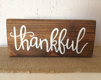 Thankful - small wooden sign