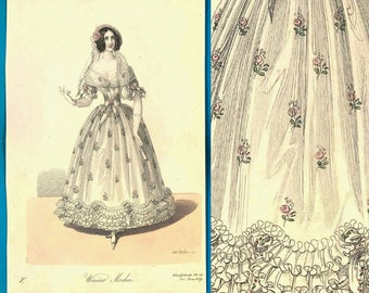 Antique 1839 Romantic early Victorian fashion print gown with roses Wiener Mode hairstyle shoes