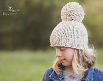 Cream Pom Pom Beanie, Oversized Pom Hat, Chunky Knit Hat, Toddler Hats for Girls, Knit Baby Hat, Knitted Pom Hat, Pom Pom Beanie, Chunky Hat