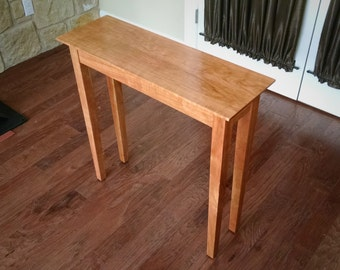 Foyer, Entryway or Sofa Table - Solid Black Cherry Wood // Tapered Legs, Custom Sizes