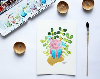 PINKU GADIAN - original illustration - watercolor - hand made