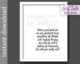 Marilyn Monroe, Printable Quote, Girl Talk Quote, be yourself, gift for her, feminine wall art, dorm for her, printable wall art, feminist