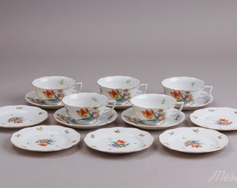 Herend Bouquet de Tulipe Tea and Dessert Set for Five Persons, from 1941