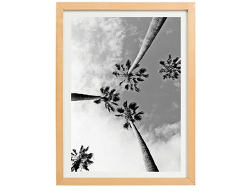 Printable Poster Minimalist Summer Days Beach Palm Trees Black and White Typographic Instant Download Digital File Print Scandinavian Art