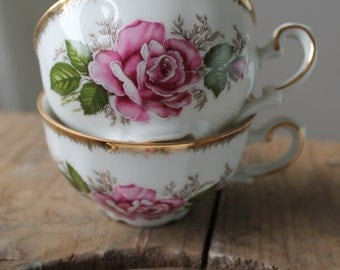 affordable price, beautiful floral gilded gold tea, coffee cups and saucers, all bone china porcelain, white hand painted