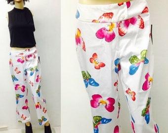 NEON BUTTERFLY CAPRI Pants,Bright Summer Pants