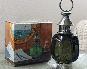 Avon Whale Oil Lantern Wild Country After Shave Full 5 Fl Oz Original Packaging Original Box Green Glass Lantern Excellent Vintage Condition