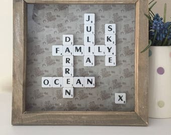 Scrabble art frame washed wood gifts