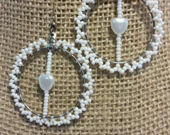 White Beaded Earrings, Sterling Earrings, Heart Earrings
