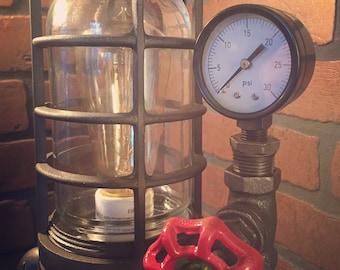 Steampunk Industrial Desk Lamp with Pressure Gauge