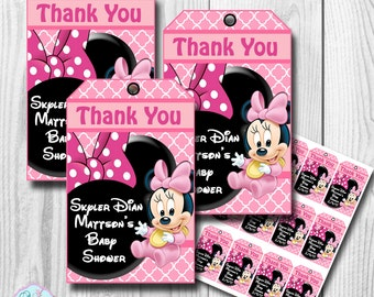 Baby Minnie Mouse Thank you Tags, Favor Tags PERSONALIZED DIY PRINTABLE
