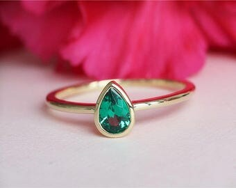 4x6mm May Birthstone Ring Emerald Diamond Ring In 14K Yellow Gold  Engagement Ring Bridal Jewelry Anniversary Gift Wedding Ring