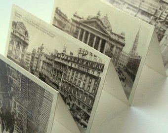Vintage souvenir postcards booklet.Bruxelles Brussels.Belgian souvenir.Travel collectible.Scrapbooking.Home decor.Vintage Sepia photography