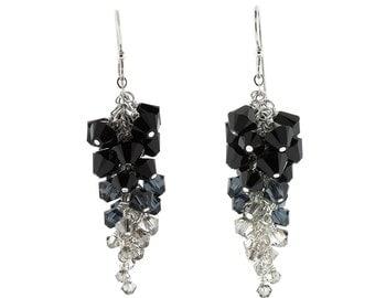 Black Swarovski Crystal Ombré Cluster Earrings