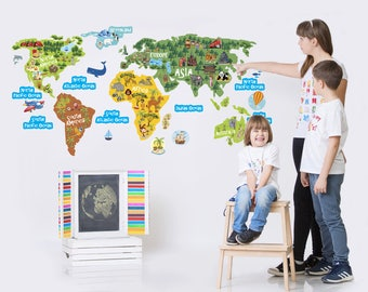 World Map Kids Wall Decal For Childrens Room, Continents Oceans Vinyl Wall  Sticker, Animal Part 83