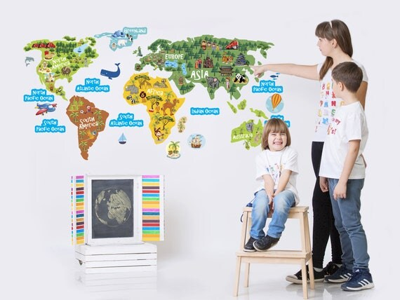 World Map Kids Wall Decal For Childrens Room Continents - Wall map children's room