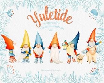 Yuletide Clip art, Gnome, Christmas clipart, watercolor clipart, Dala horse, pig, elk deer, winter, printable, scrapbooking, illustration