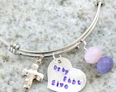 Hand Stamped Keepsake Necklace Bracelet: Lent - Pray Fast Give
