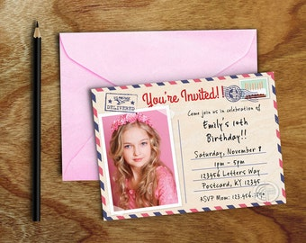 Photo Post Card Birthday Invite, Boy or Girl Photo Post Card Birthday Invitation, You're Invited Post Card Invite