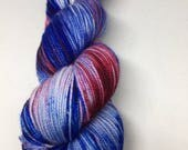 Hand dyed sock yarn in red white and blue, Chicago cubs colorway sock yarn hand dyed. Super wash sock yarn hand dyed