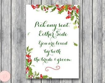 Pick a Seat not a side sign, Find your seat sign, Wedding Ceremony Sign, Decoration Sign, Printable Sign, Wedding Sign WD107 TH56
