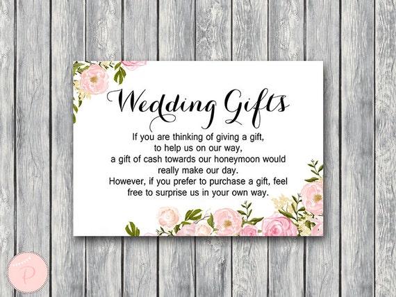 Wedding Gift Cards Wording: Peonies Wedding Gift Honeymoon Fund Card And Sign Cash