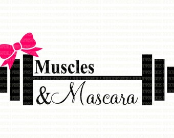 Muscles & Mascara Barbell Weights Fitness SVG Digital File DXF EPS png pdf Digital Circuit Design Files Silhouette Cut Files Commercial Use