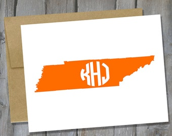 Personalized Tennessee Monogram Notecard Set of 12 - State Note Card Set - Customized Notecards