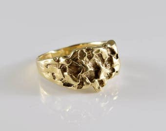 10K Yellow Gold Nugget Ring Size 7 1/2
