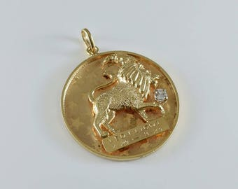14K Yellow Gold Diamond Leo the Lion Medallion Pendant