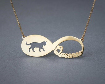 14k Solid Gold Personalised INFINITY SHORTHAIR CAT Necklace - 14k Gold Shorthair Cat Necklace - Name Necklace