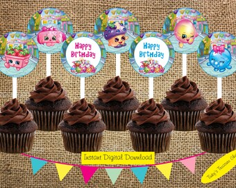 Digital 2 Inch Cupcake Toppers. Shopkins. Instant Download. JPG File. Birthday Decoration. DIY.