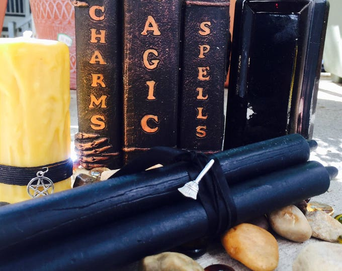 """100% Pure Beeswax Black Taper Candles. 8"""" tall and ready for your Altar"""