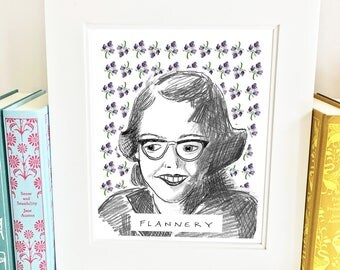 Flannery O'Connor Print - illustrated - wall art - literary - AFO