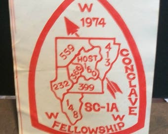 1974 Order Of The Arrow Boy Scouts Of America Vintage Arkansas SC-1A WWW Lodges  Conclave Fellowship Paper Decal Adhesive Back Unused