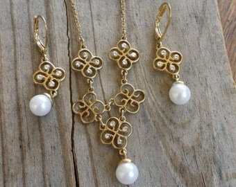 Gold pearl necklace set by Avon jewelry set Valentines Day gift for her earrings necklace set pearls DH281