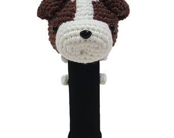 Hand Stitched Yarn Animal Driver/Wood Golf Head Cover - Jack Russell