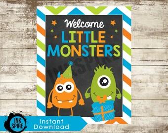"PRINTABLE 8""x10"" Monster Birthday Sign | Little Monster Sign | Monster Party Sign | Monster Party Decor | Monster First Birthday Decor"
