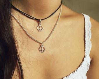 Peace Choker / Peace Sign Choker, Peace Necklace, Peace Sign Necklace, Peace Jewellery, Peace Jewelry, Peace Symbol Choker, Peace Symbol