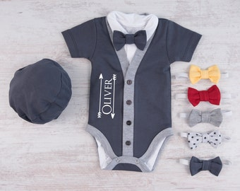 Personalized Baby Boy Gift, Graphite Gray Cardigan, Bodysuit, Hat & Bow Tie Set, Baby Boy Outfit, Newborn Photo Prop, Newborn Clothes Boy