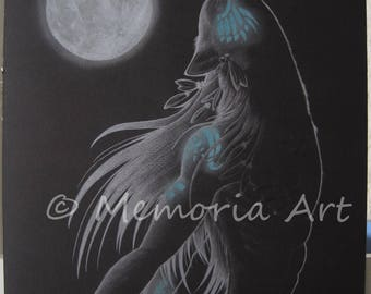 Print of anthro wolf drawing, indian, mystic, full moon, werewolf - Wall Decor
