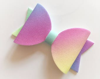 Rainbow fabric felt hair bow - alligator clip, ballet bow